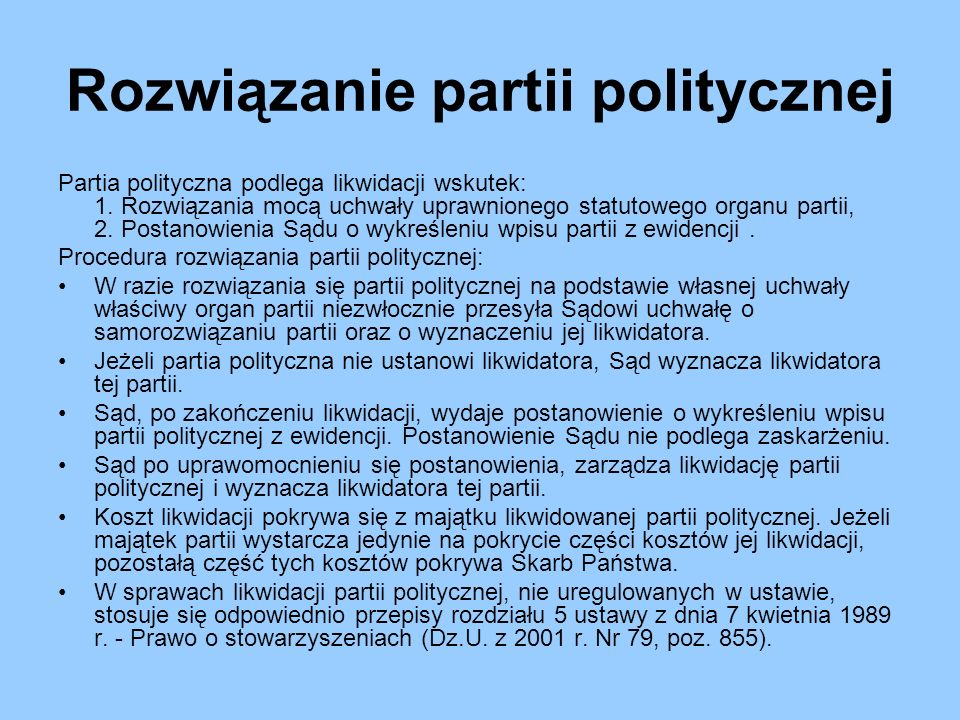 Rozwiązanie partii politycznej