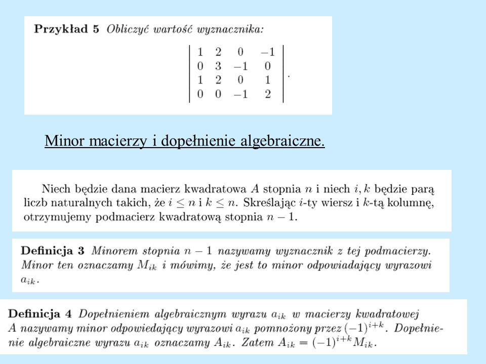 Minor macierzy i dopełnienie algebraiczne.
