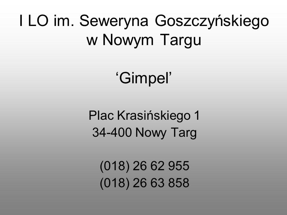 I LO im. Seweryna Goszczyńskiego w Nowym Targu 'Gimpel'