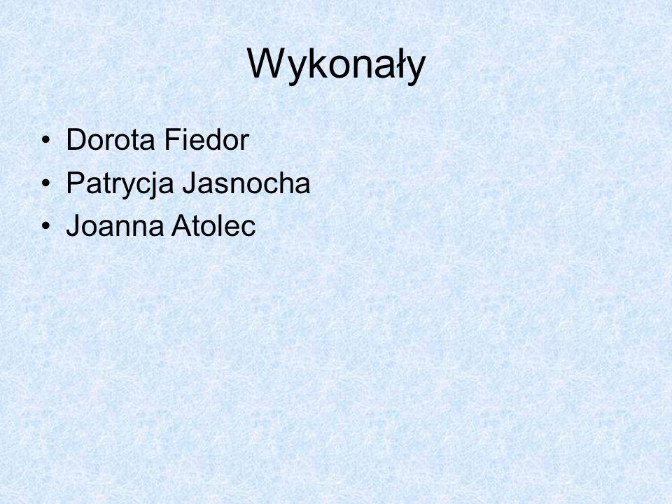 Wykonały Dorota Fiedor Patrycja Jasnocha Joanna Atolec