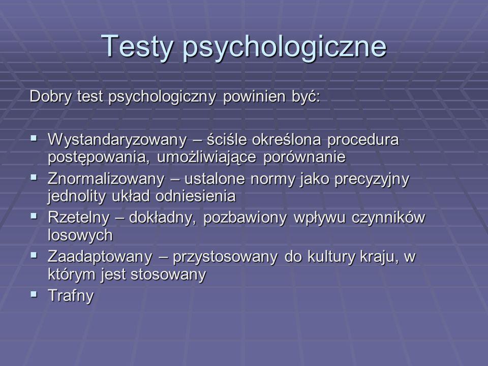 Testy psychologiczne Dobry test psychologiczny powinien być: