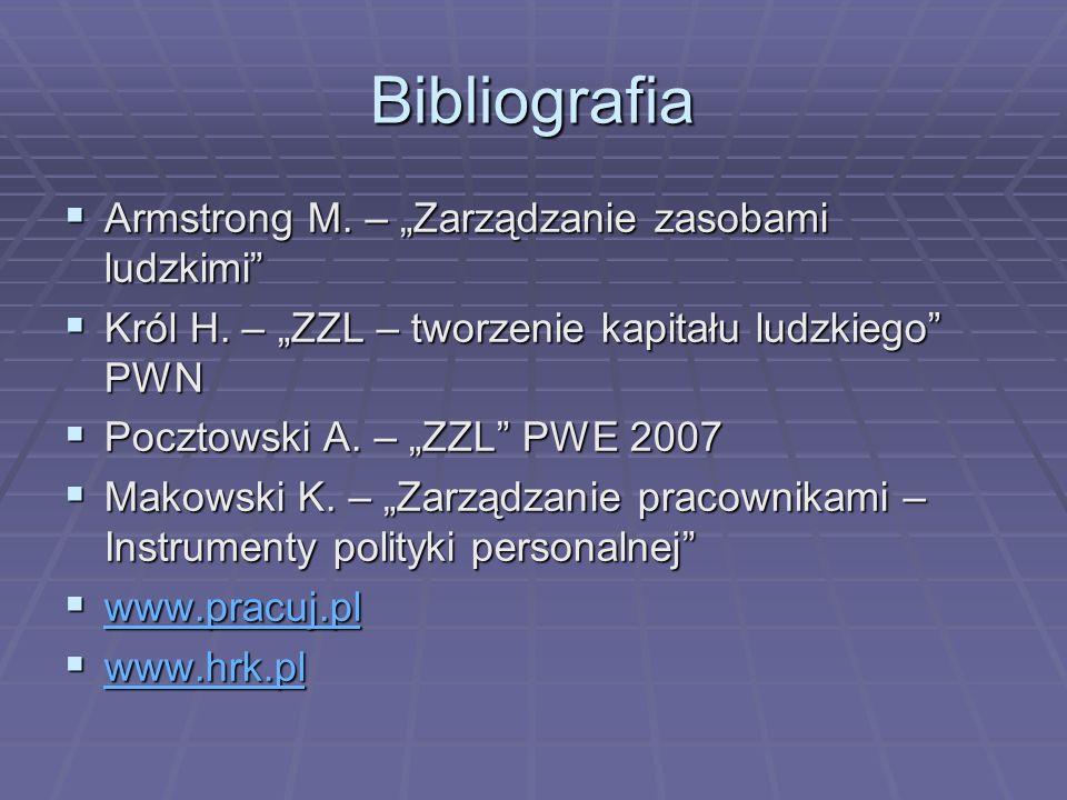 """Bibliografia Armstrong M. – """"Zarządzanie zasobami ludzkimi"""