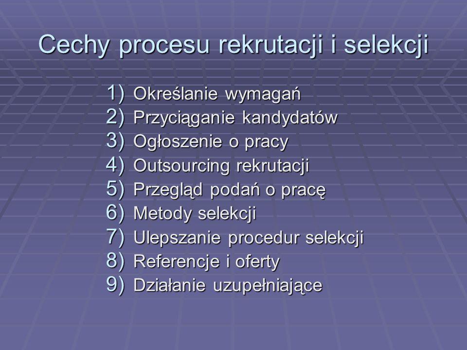 Cechy procesu rekrutacji i selekcji