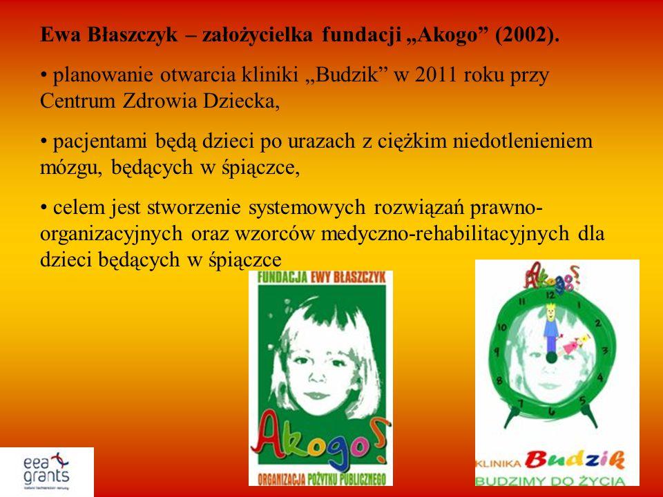 """Ewa Błaszczyk – założycielka fundacji """"Akogo (2002)."""