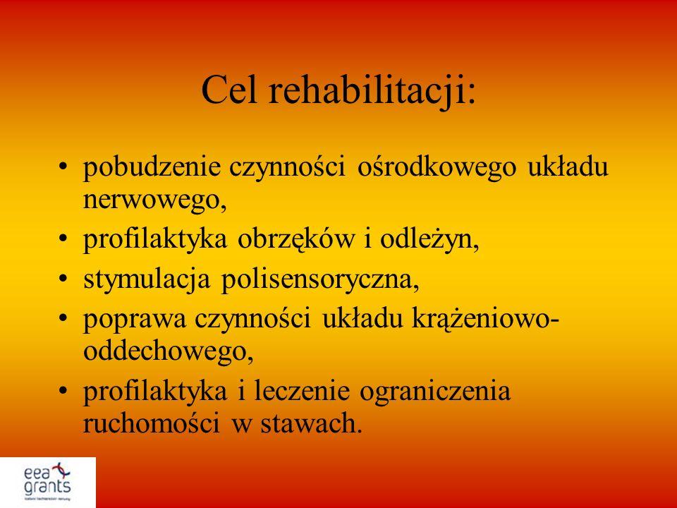 Cel rehabilitacji: pobudzenie czynności ośrodkowego układu nerwowego,