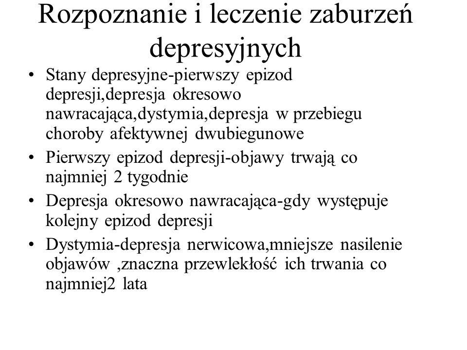 Rozpoznanie i leczenie zaburzeń depresyjnych