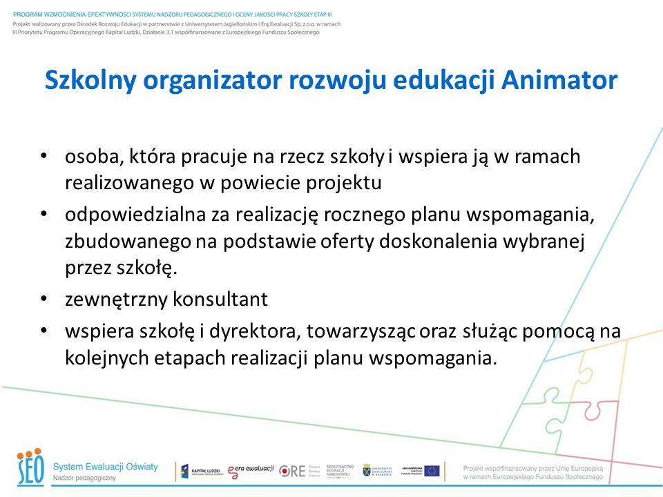 Szkolny organizator rozwoju edukacji Animator