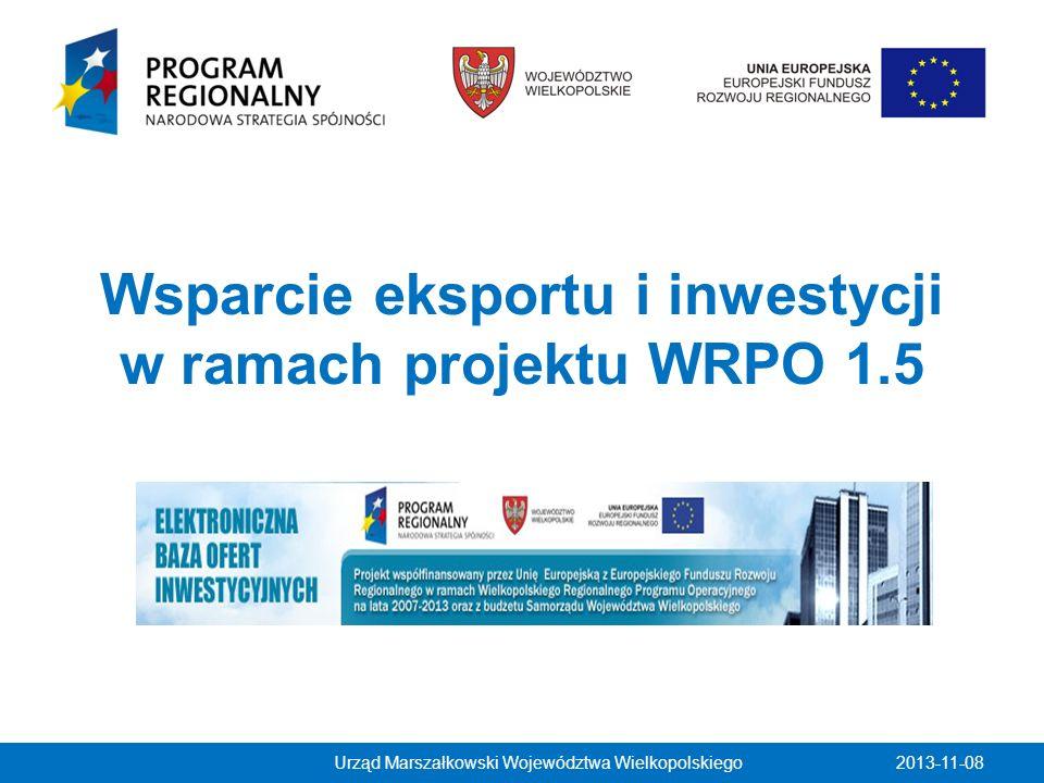 Wsparcie eksportu i inwestycji w ramach projektu WRPO 1.5