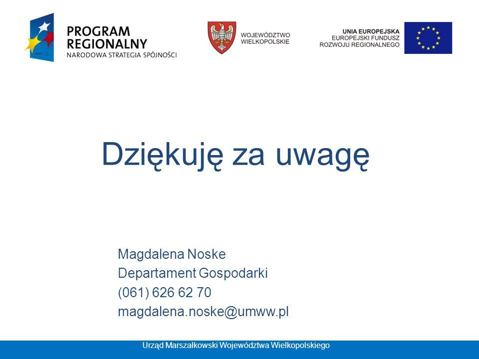 Dziękuję za uwagę Magdalena Noske Departament Gospodarki