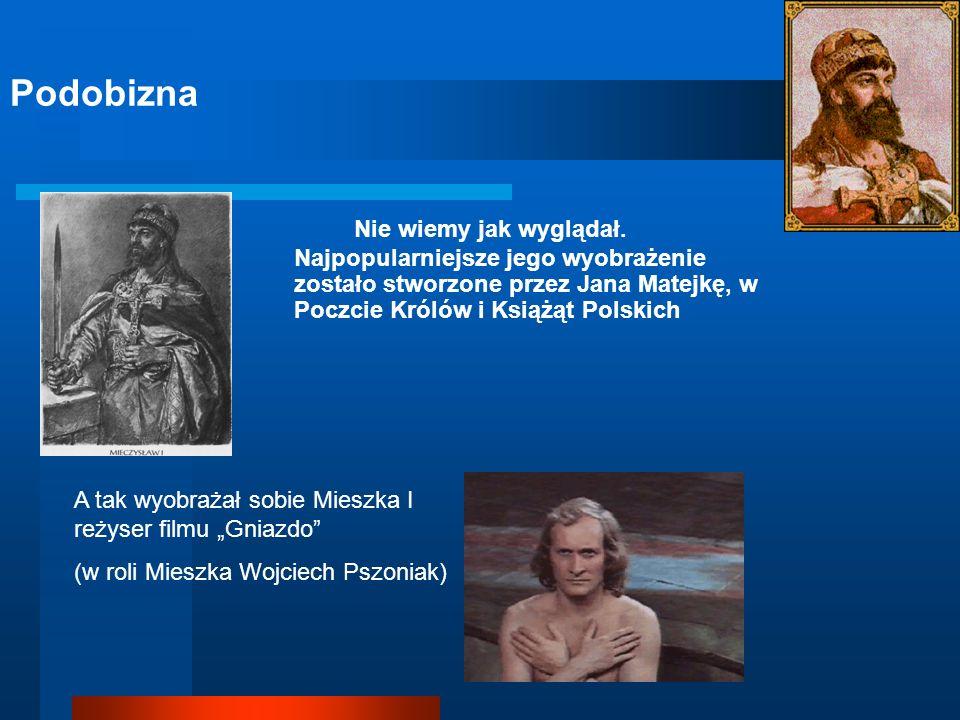 PodobiznaNie wiemy jak wyglądał. Najpopularniejsze jego wyobrażenie zostało stworzone przez Jana Matejkę, w Poczcie Królów i Książąt Polskich.