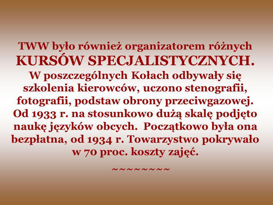 TWW było również organizatorem różnych KURSÓW SPECJALISTYCZNYCH