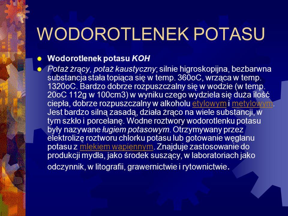 WODOROTLENEK POTASU Wodorotlenek potasu KOH