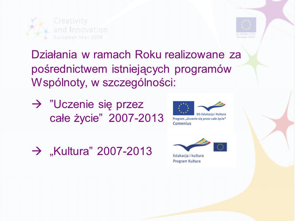 Działania w ramach Roku realizowane za pośrednictwem istniejących programów Wspólnoty, w szczególności: