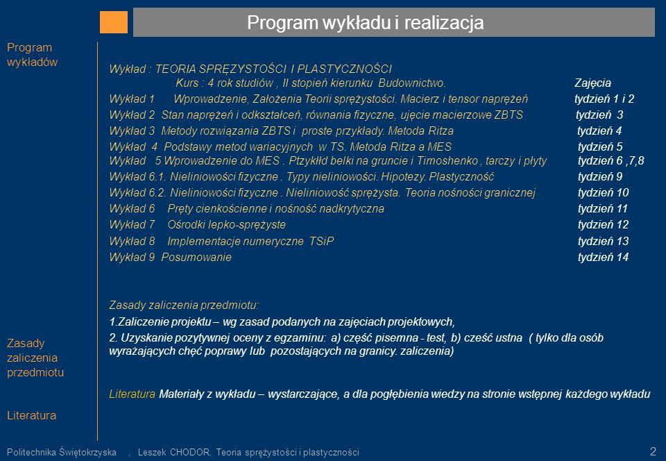 Program wykładu i realizacja