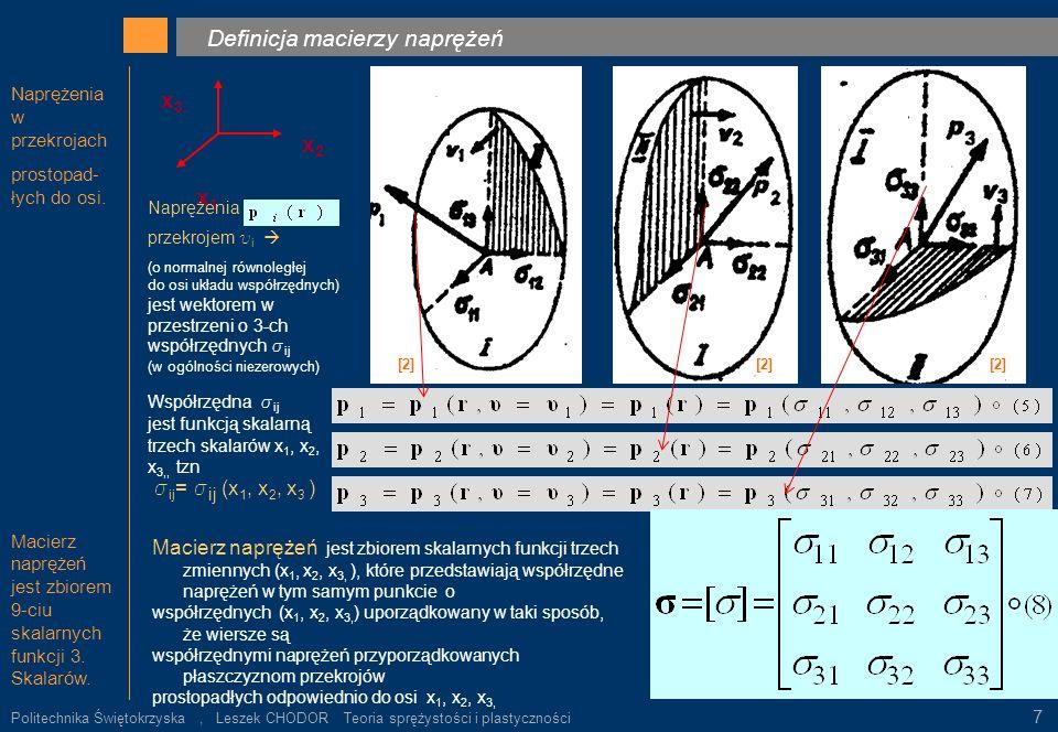 . k Definicja macierzy naprężeń x3 x2 x1 sij= sij (x1, x2, x3 )