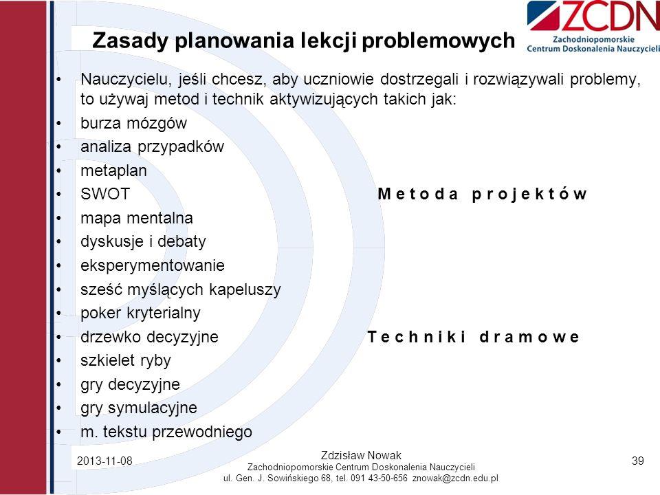 Zasady planowania lekcji problemowych