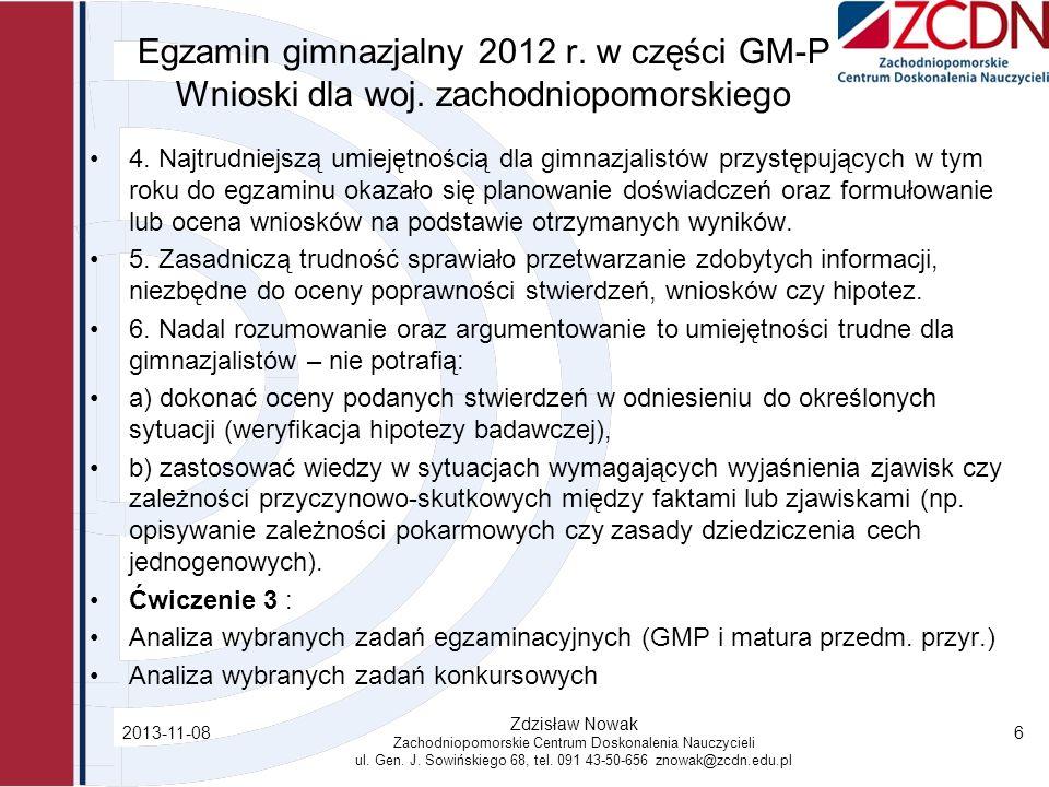 Egzamin gimnazjalny 2012 r. w części GM-P Wnioski dla woj