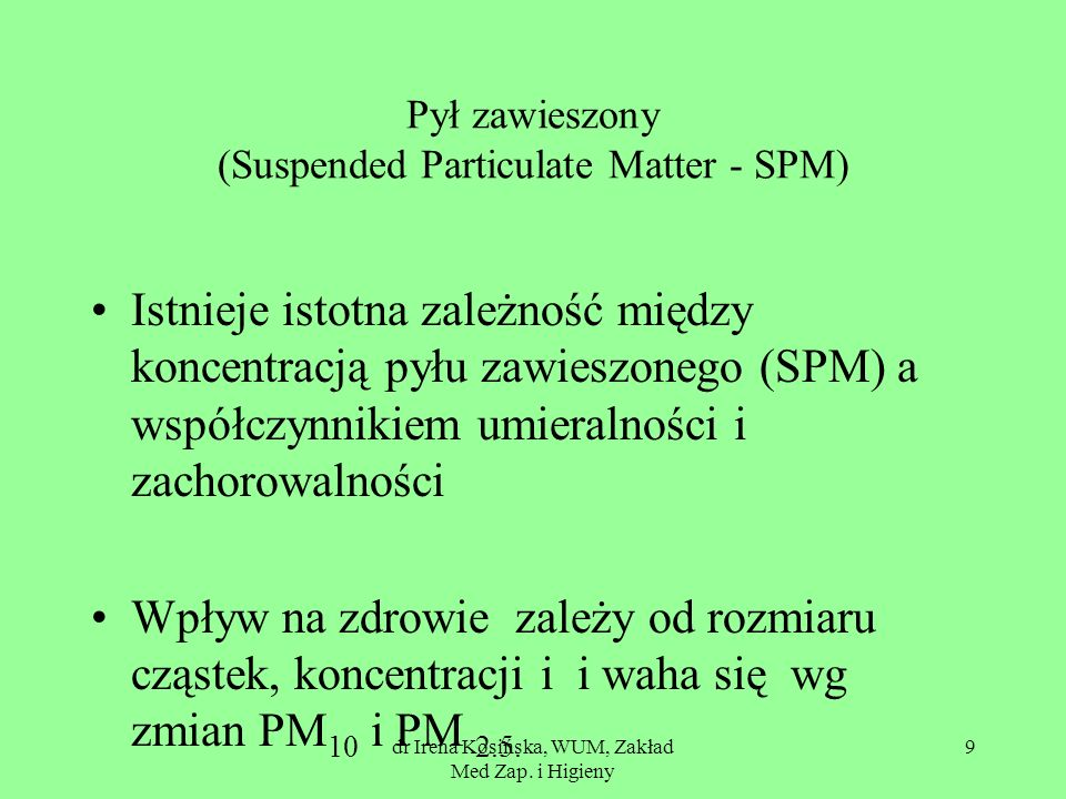 Pył zawieszony (Suspended Particulate Matter - SPM)