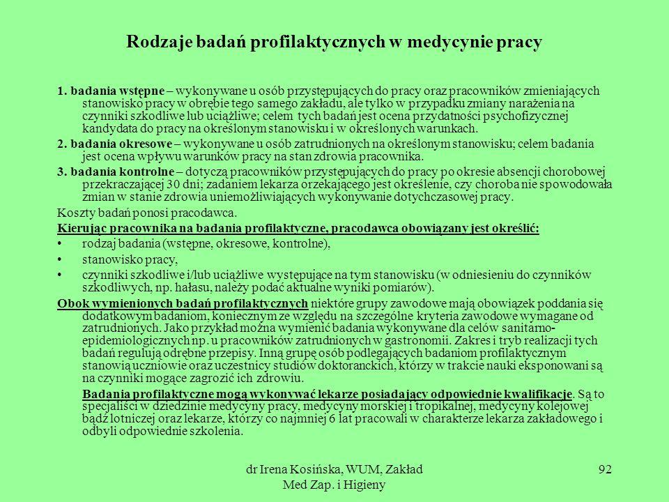 Rodzaje badań profilaktycznych w medycynie pracy