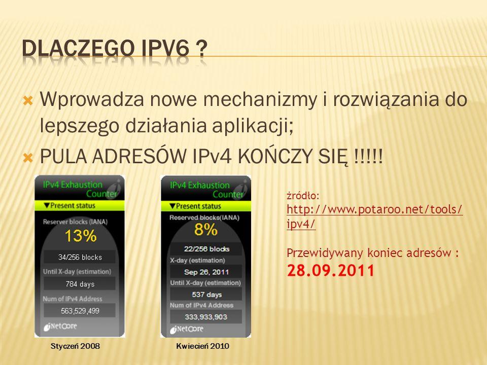Dlaczego ipV6 Wprowadza nowe mechanizmy i rozwiązania do lepszego działania aplikacji; PULA ADRESÓW IPv4 KOŃCZY SIĘ !!!!!