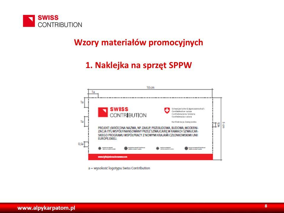 Wzory materiałów promocyjnych 1. Naklejka na sprzęt SPPW