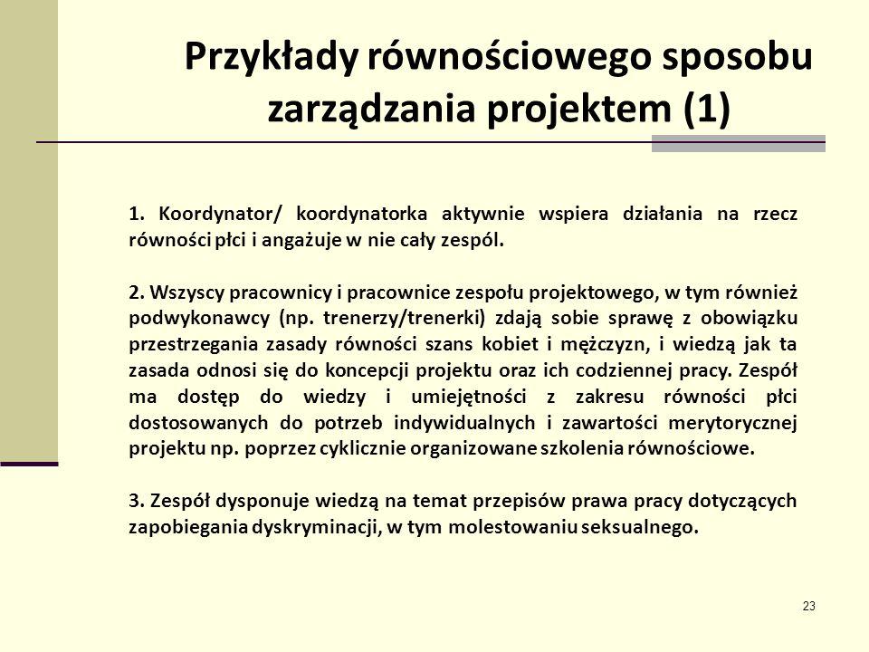 Przykłady równościowego sposobu zarządzania projektem (1)