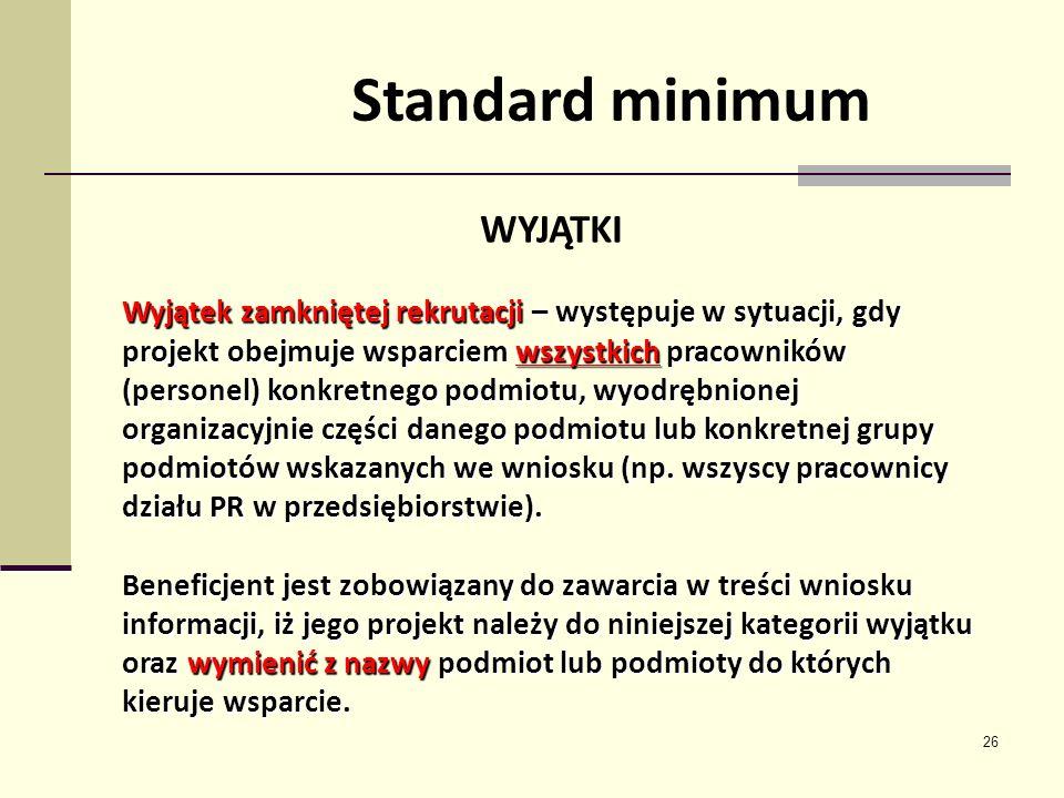 Standard minimum WYJĄTKI