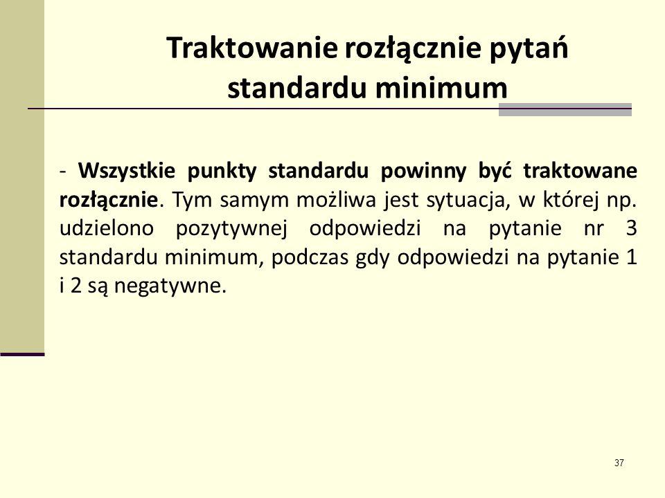 Traktowanie rozłącznie pytań standardu minimum