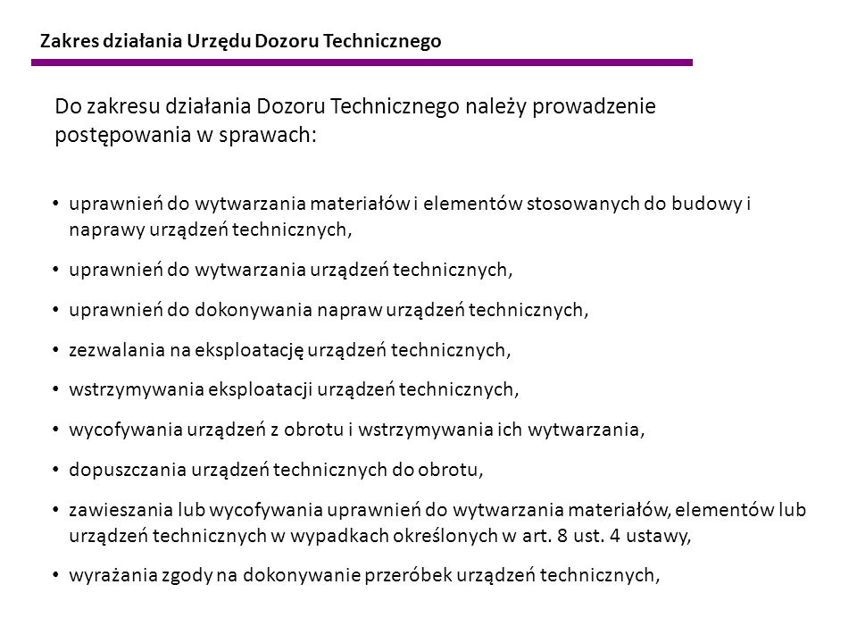 Zakres działania Urzędu Dozoru Technicznego