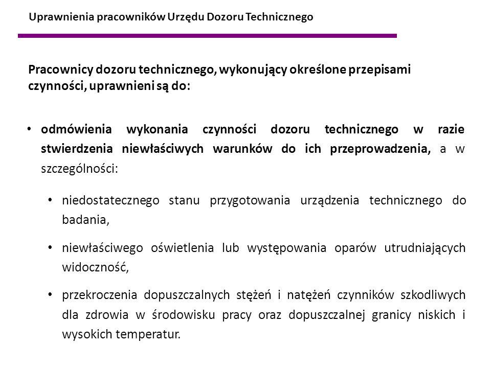Uprawnienia pracowników Urzędu Dozoru Technicznego