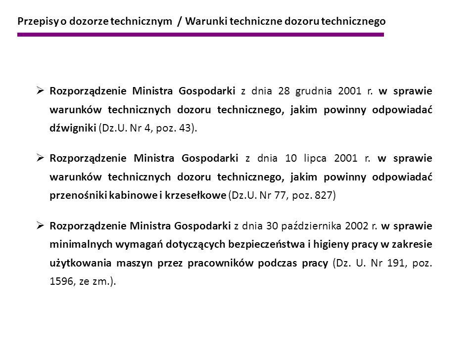 Przepisy o dozorze technicznym / Warunki techniczne dozoru technicznego