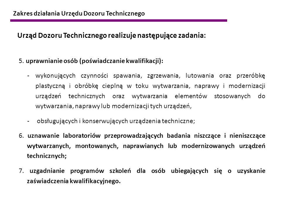 Urząd Dozoru Technicznego realizuje następujące zadania:
