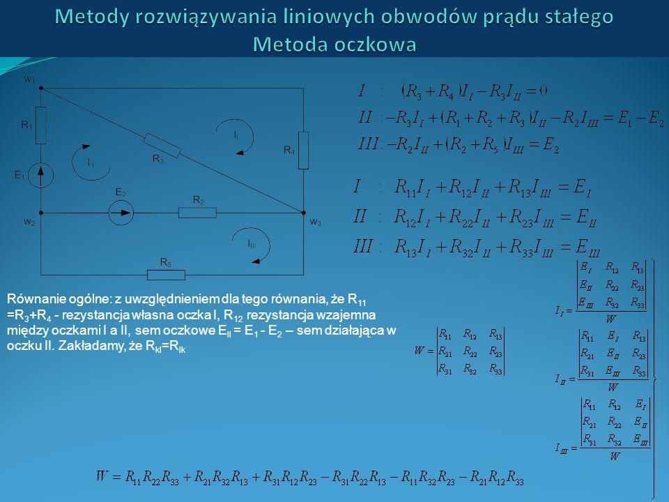 Metody rozwiązywania liniowych obwodów prądu stałego Metoda oczkowa