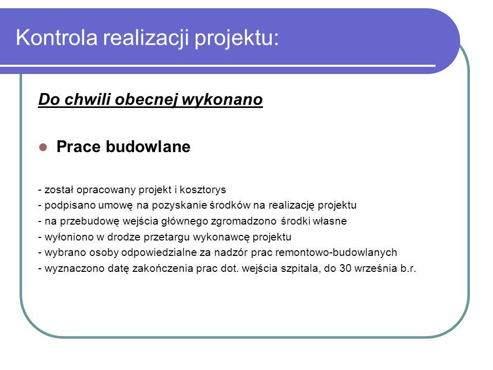 Kontrola realizacji projektu: