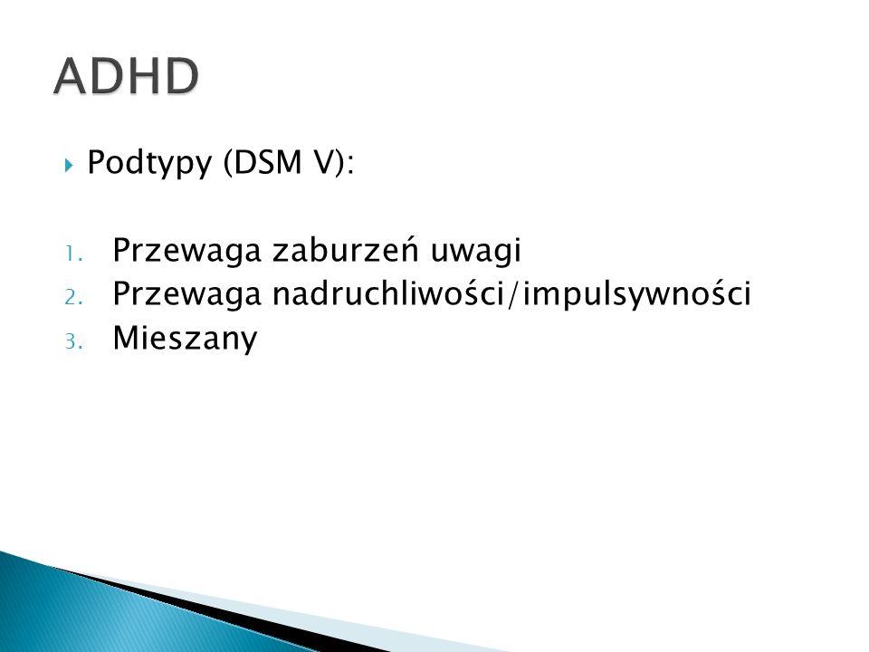 ADHD Podtypy (DSM V): Przewaga zaburzeń uwagi