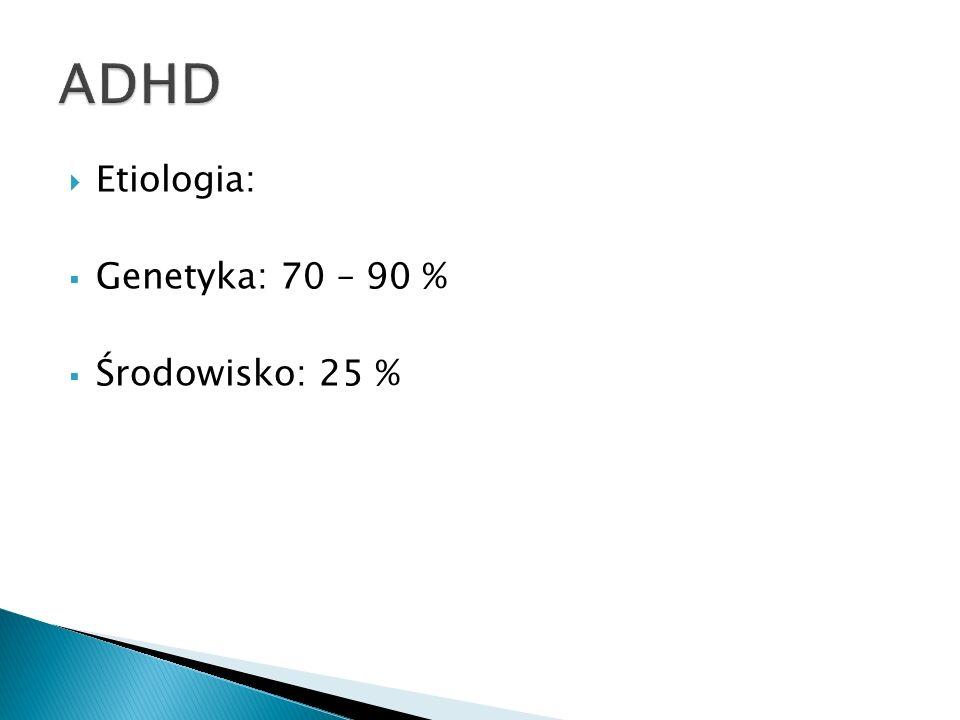 ADHD Etiologia: Genetyka: 70 – 90 % Środowisko: 25 %