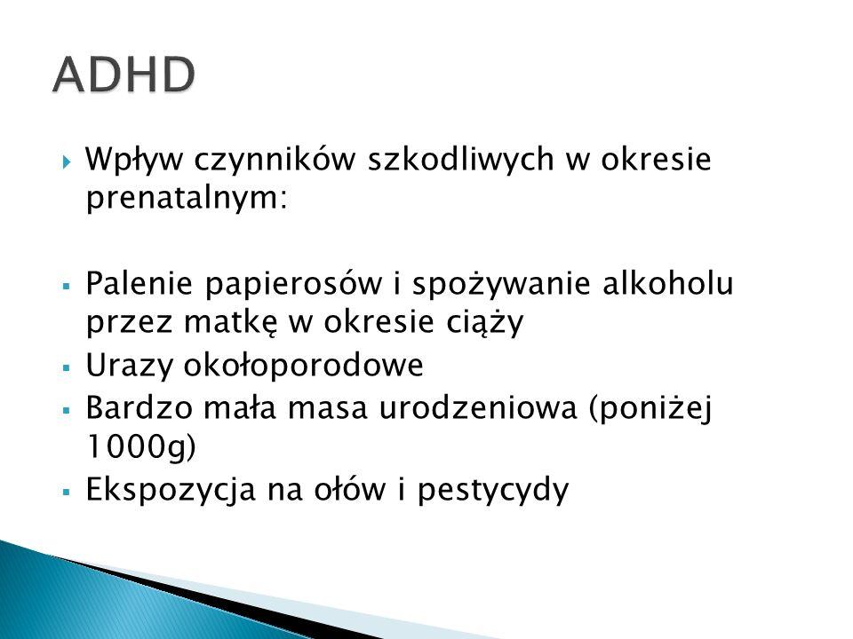 ADHD Wpływ czynników szkodliwych w okresie prenatalnym: