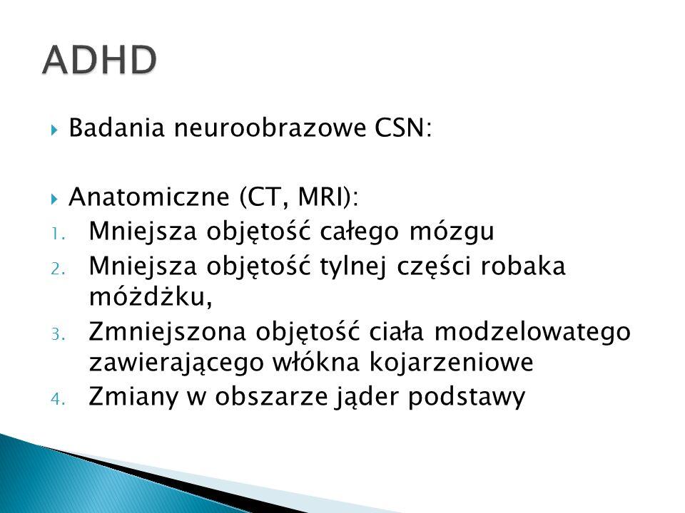 ADHD Badania neuroobrazowe CSN: Anatomiczne (CT, MRI):