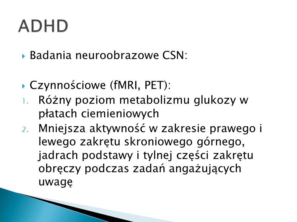 ADHD Badania neuroobrazowe CSN: Czynnościowe (fMRI, PET):