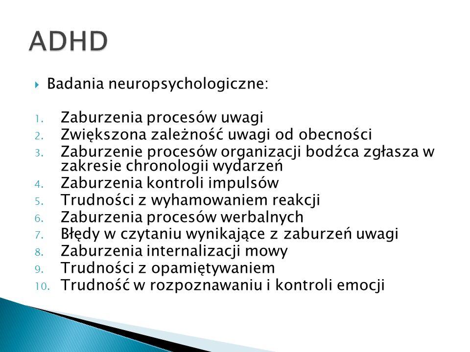 ADHD Badania neuropsychologiczne: Zaburzenia procesów uwagi