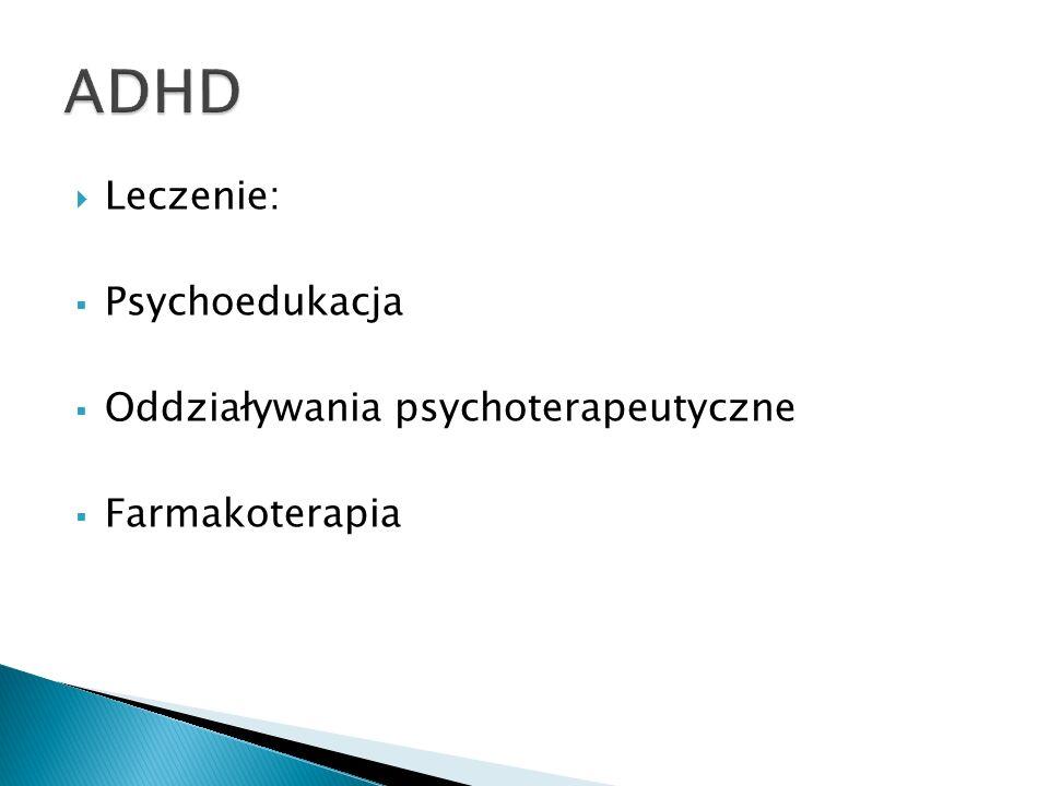 ADHD Leczenie: Psychoedukacja Oddziaływania psychoterapeutyczne