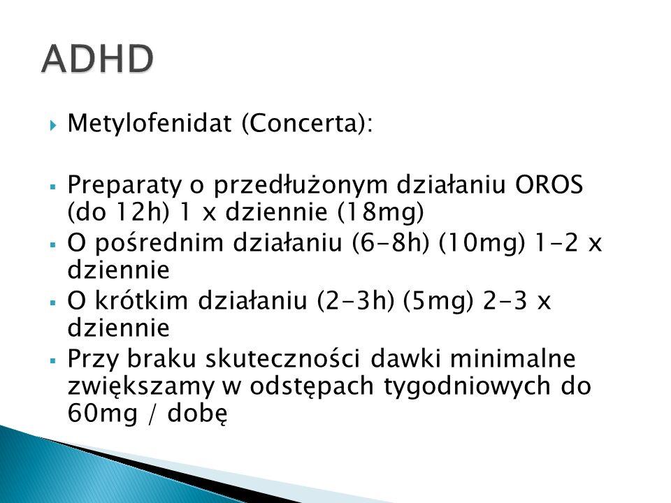 ADHD Metylofenidat (Concerta):