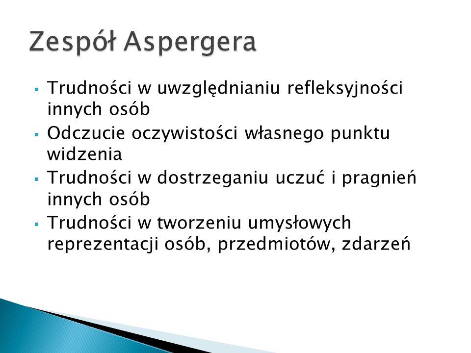 Zespół Aspergera Trudności w uwzględnianiu refleksyjności innych osób