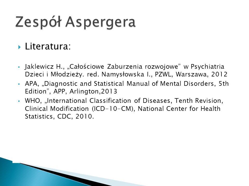 Zespół Aspergera Literatura:
