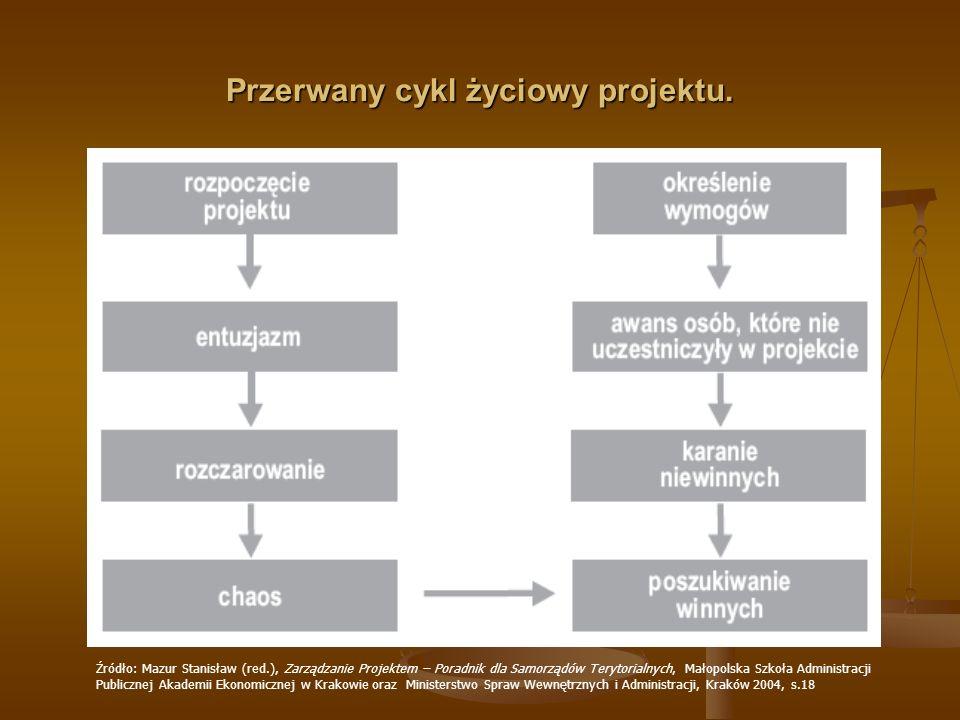 Przerwany cykl życiowy projektu.