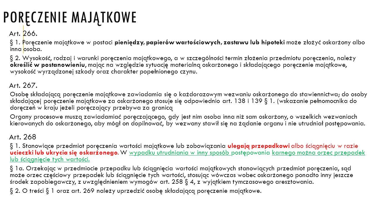 Poręczenie majątkowe Art. 268 Art. 266. Art. 267.