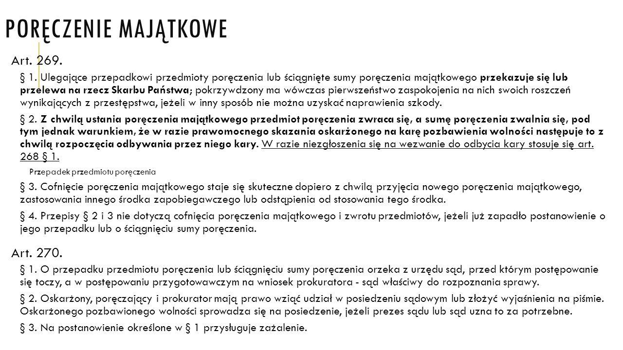 Poręczenie majątkowe Art. 269. Art. 270.