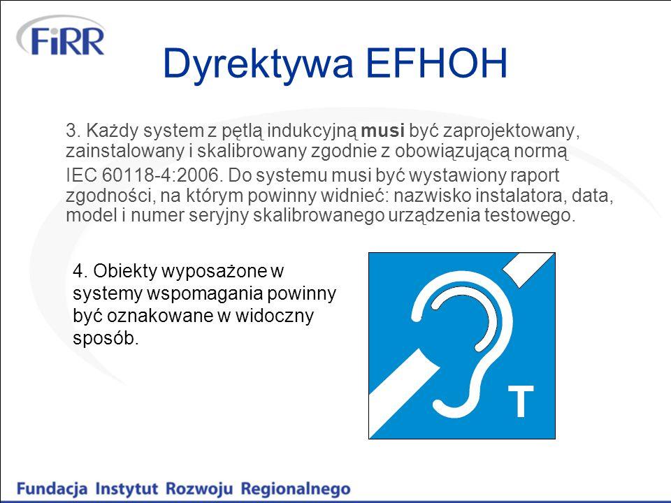 Dyrektywa EFHOH 3. Każdy system z pętlą indukcyjną musi być zaprojektowany, zainstalowany i skalibrowany zgodnie z obowiązującą normą.