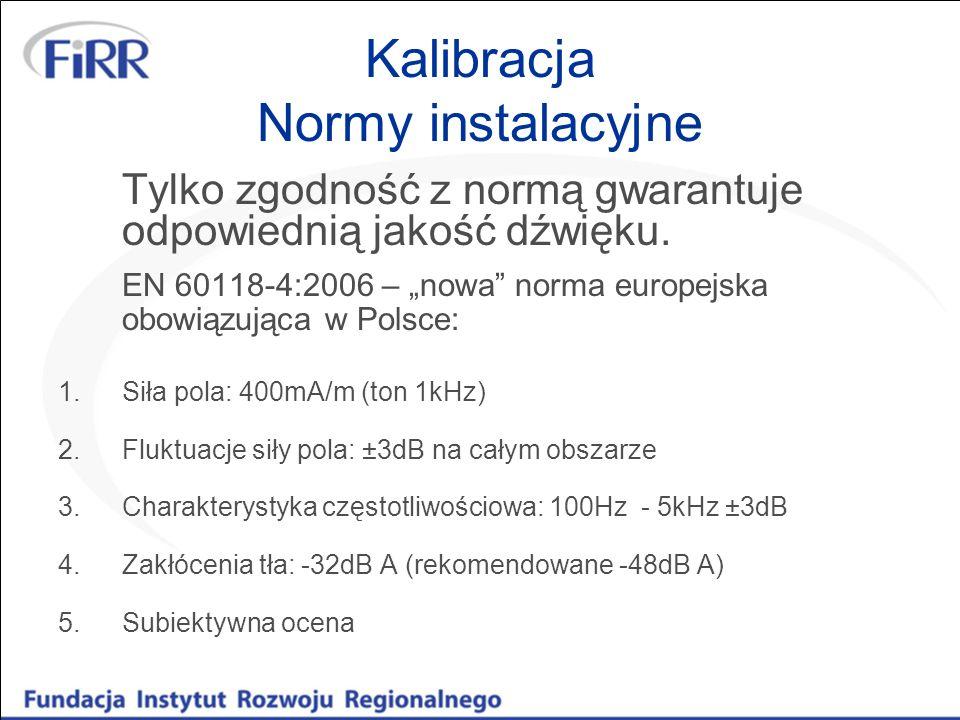 Kalibracja Normy instalacyjne