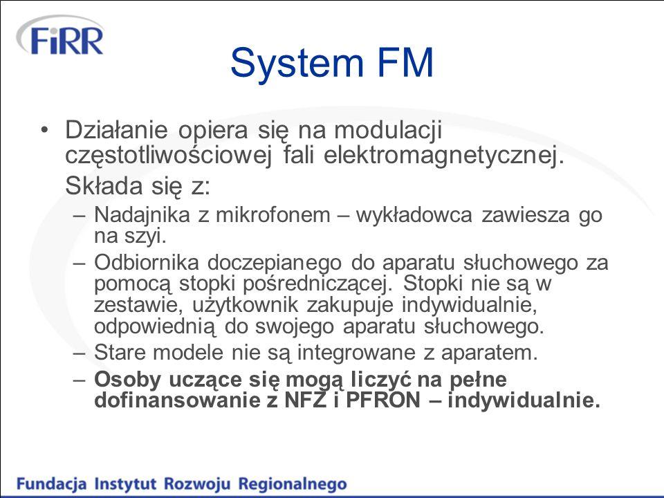 System FM Działanie opiera się na modulacji częstotliwościowej fali elektromagnetycznej. Składa się z: